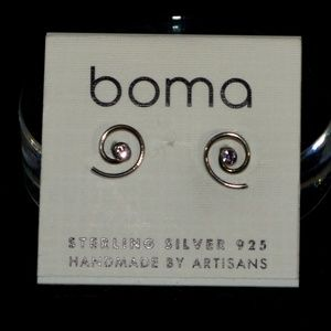 Minimalist BOMA Spiral Sterling Silver Earrings